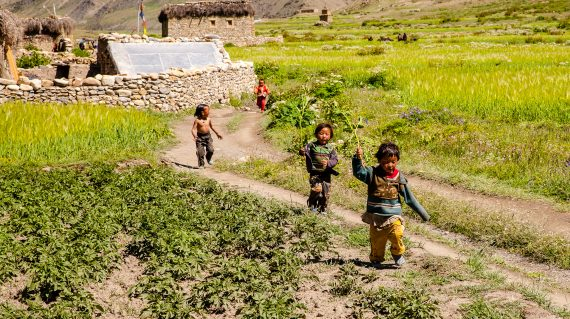 Kids playing in Dho Tarap Valley